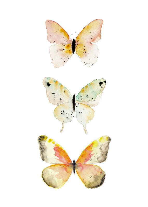 Watercolor Butterfly Art Print Modern Nature Wall Decor Serene Painting Bathroom New Baby Gift