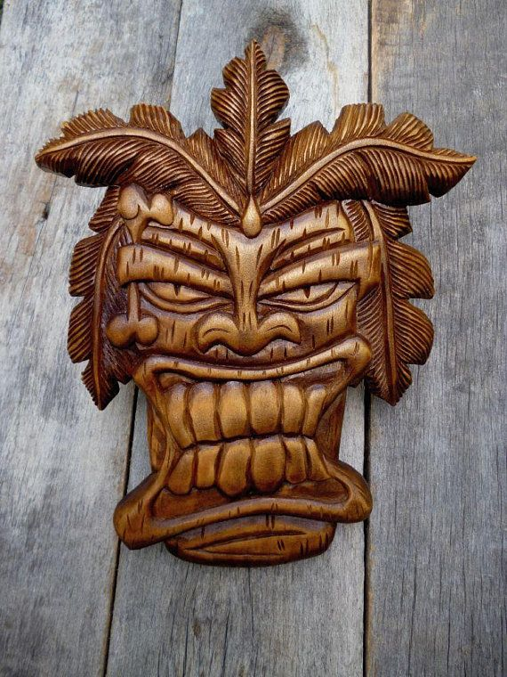 Wooden Mask Hand Carved Wood Wall Hanging Wood Carving Tiki