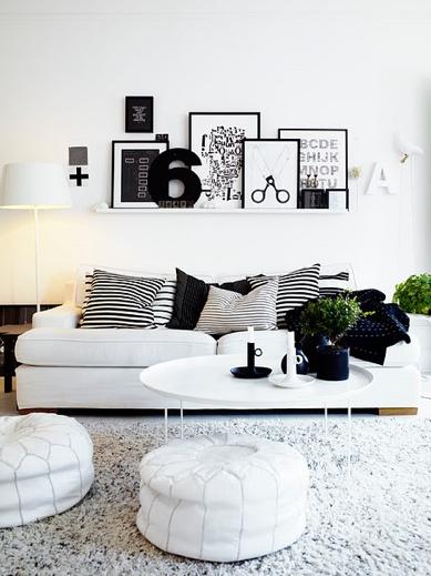 Living Room Modern Black And White Apartment With Photo Frame Decor Idea Design Ideas