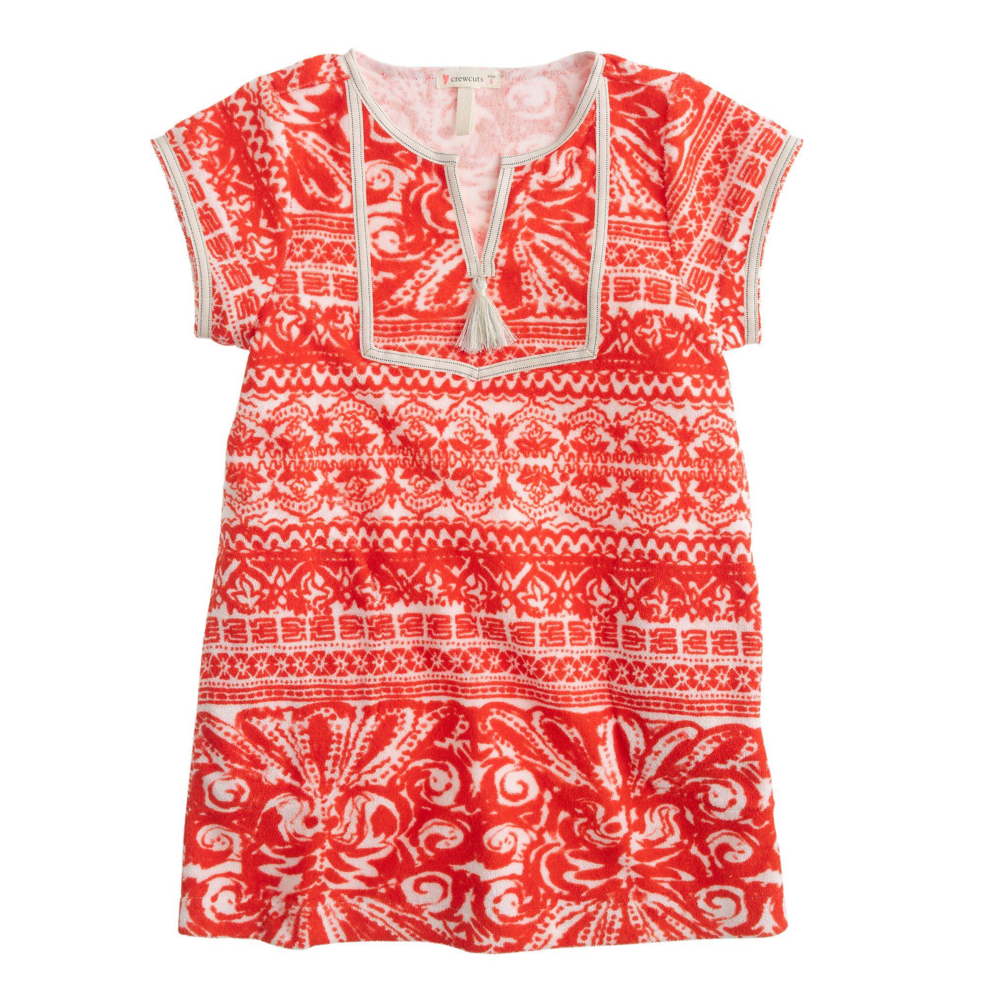 Girls' terry cloth tassel dress - beach cover-ups -Girls- J.Crew