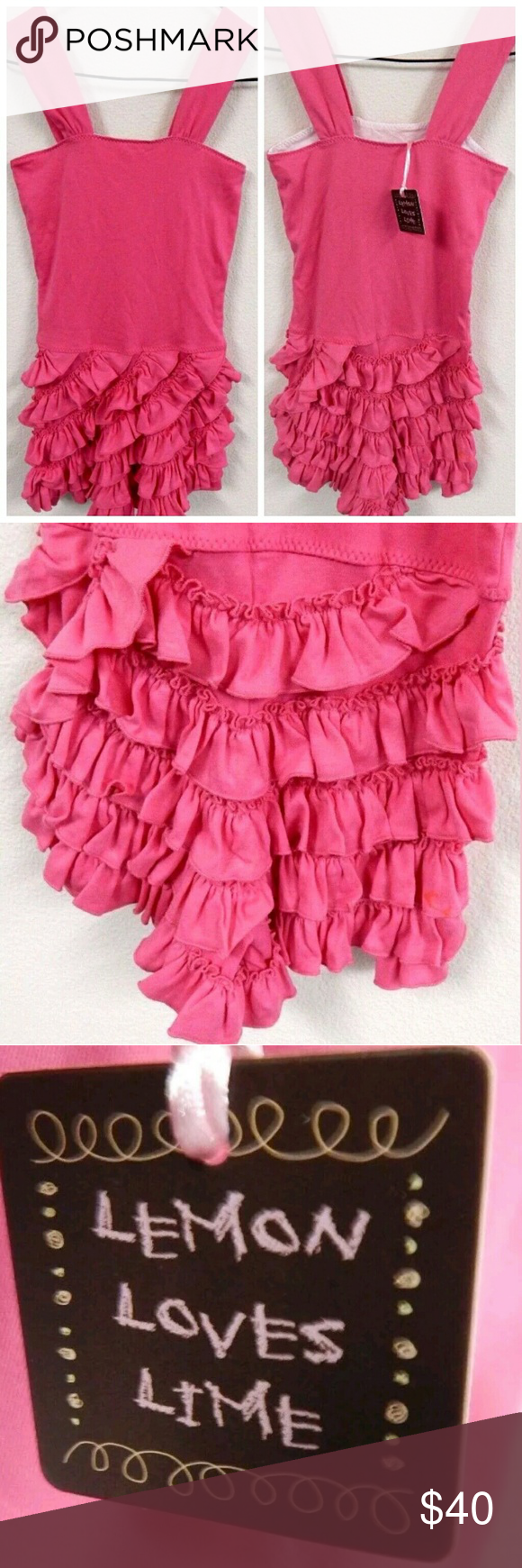 Lemon Loves Lime Pink Ruffle Sundress Adorable girls dress by lemon loves lime. Size 7 years. Never worn but does have minor snags from storage. Perfect for any girlie girl! lemon loves lime Dresses Casual