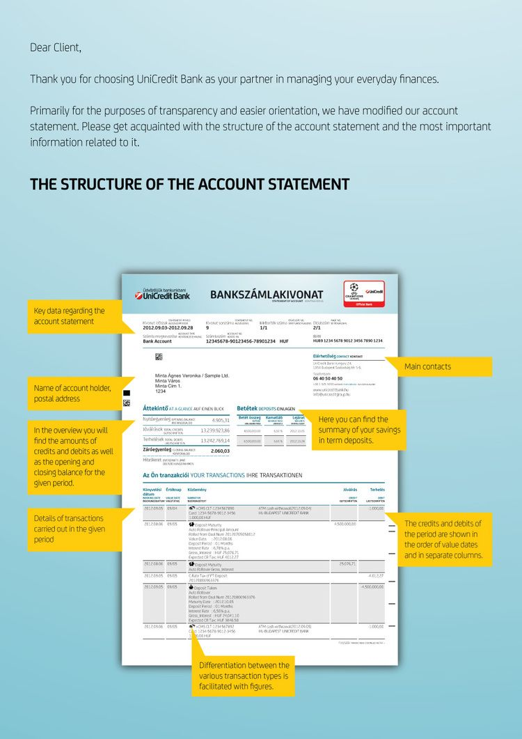 Unicredit Monthly Account Statement Design  Statements