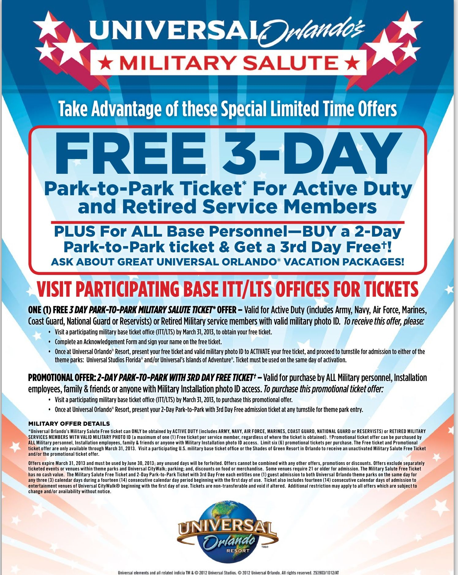 Universal Studios Orlando Free 3 Day Park To Park Ticket For Military Members Universal Studios Tickets Military Salute Universal