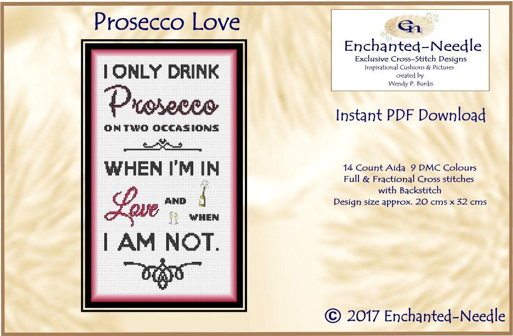 Prosecco Pdf Sampler Cross Stitch Wine Cross Stitch Pattern