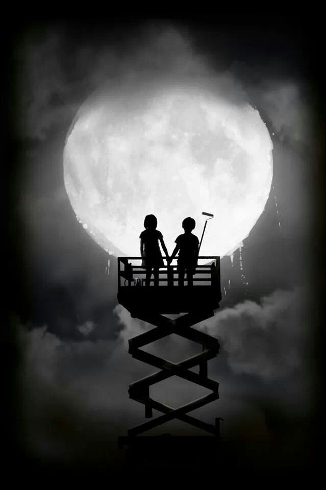 Boy And Girl Painting The Moon Surreal Photography Or Photo Manipulation