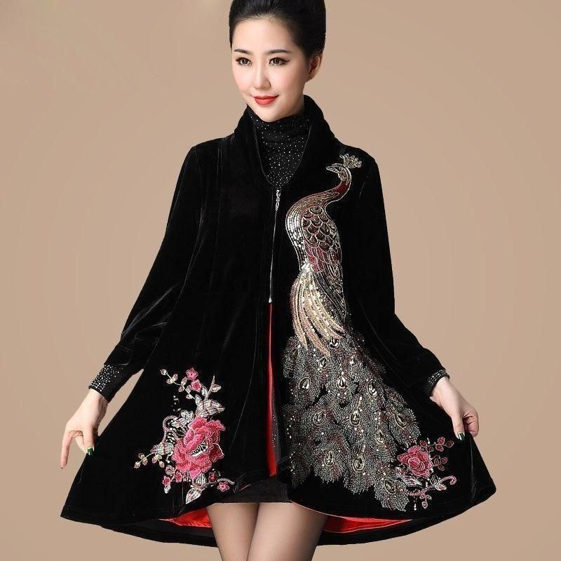 53d76138b Hot Fashion Women Embroidery Trench Coat Velvet Long Jacket Ladies Outwear  M-5XL