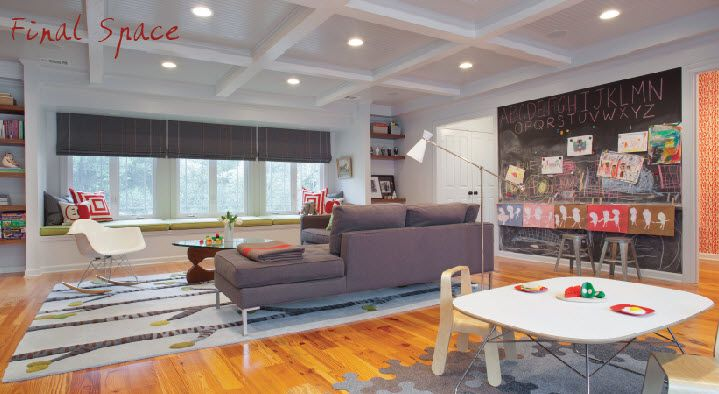 A Great Kids Space With Awesome Coffered Ceilings.