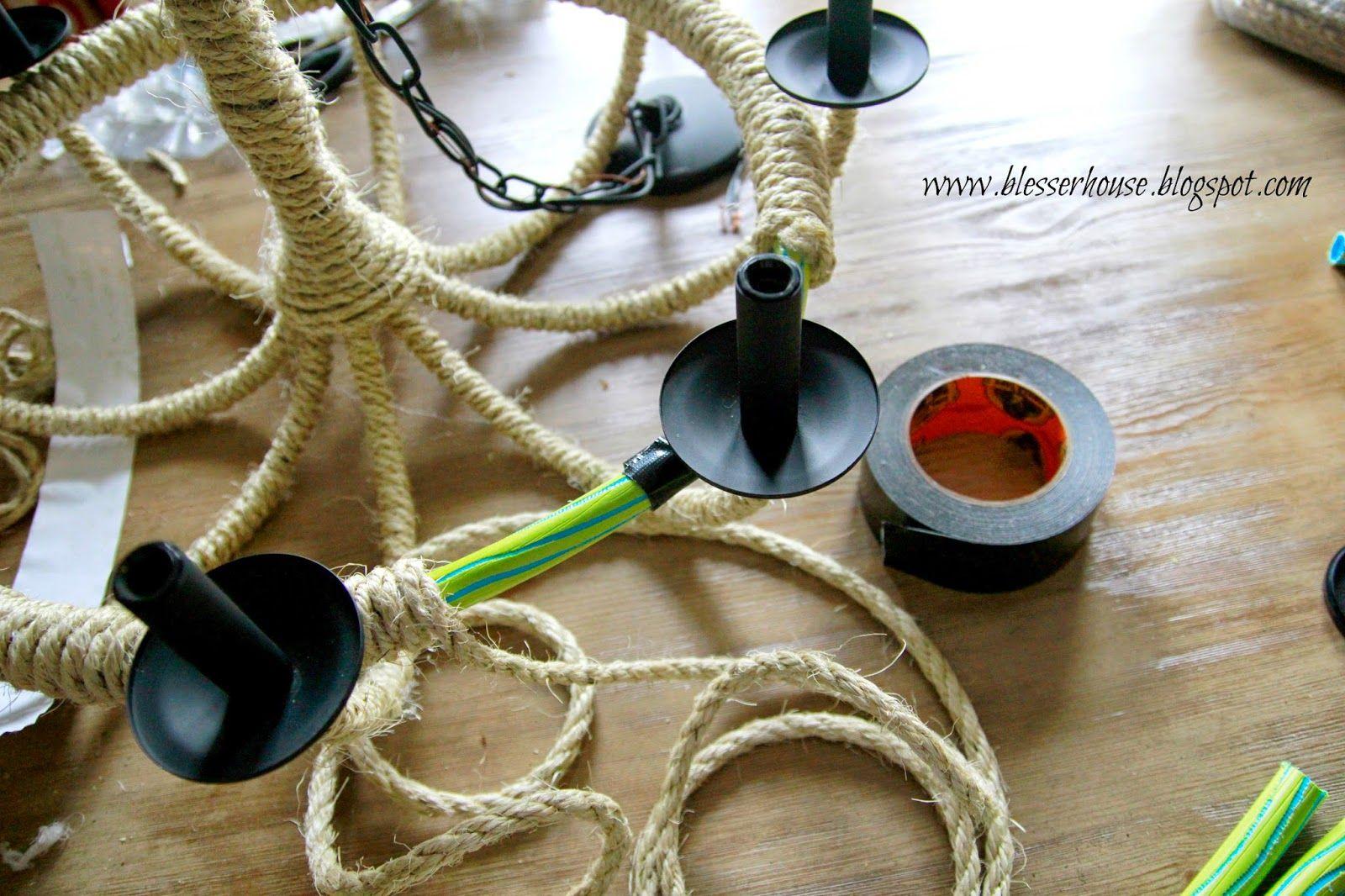 DIY Restoration Hardware KnockOff Rope Chandelier Bless