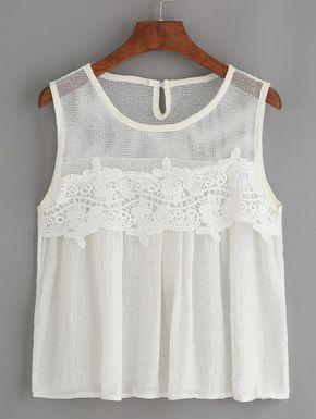 1fabd61bf51 White Mesh Neck Crochet Applique Tank Top. | Tops | Fashion, Tops ...