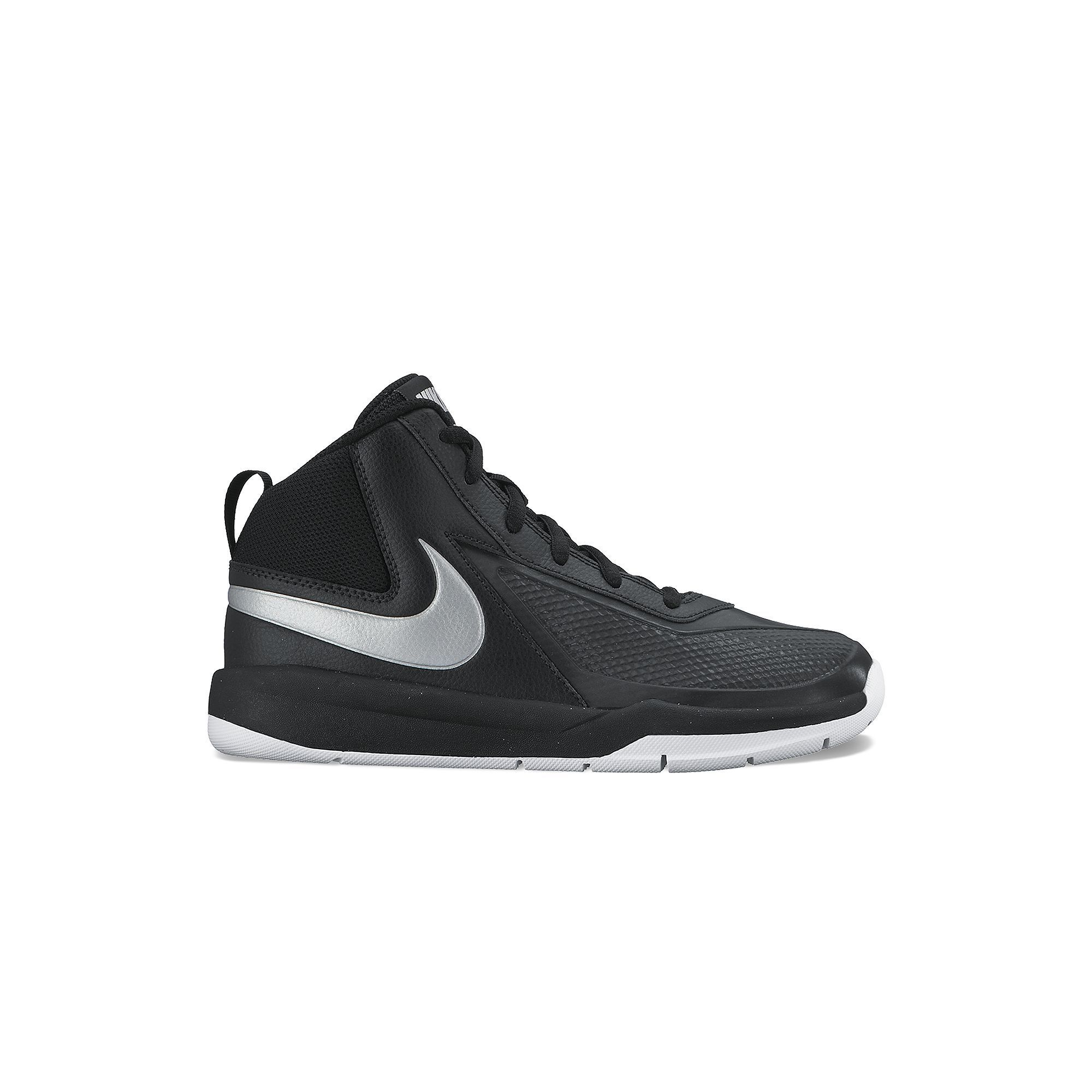Nike Synthetic Black Grey White Team Hustle D7 Youth