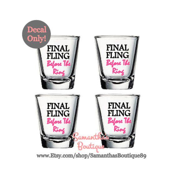 DIY Final Fling Before The Ring Shot Glass Vinyl Decals Set Of - Vinyl decals for shot glasses