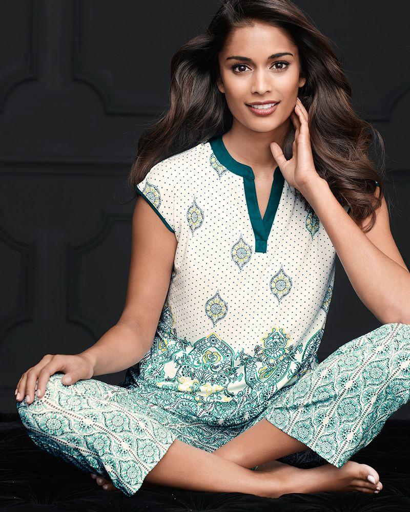 ae284e99d2 Soma Cap Sleeve Popover Pajama Top Ornate Scroll Ivory