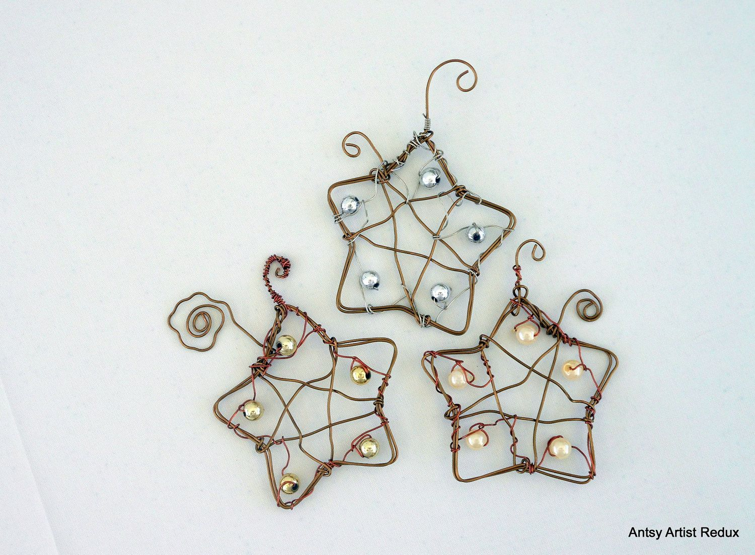 Wire star ornament set of three, upcycle beads copper wire hand ...
