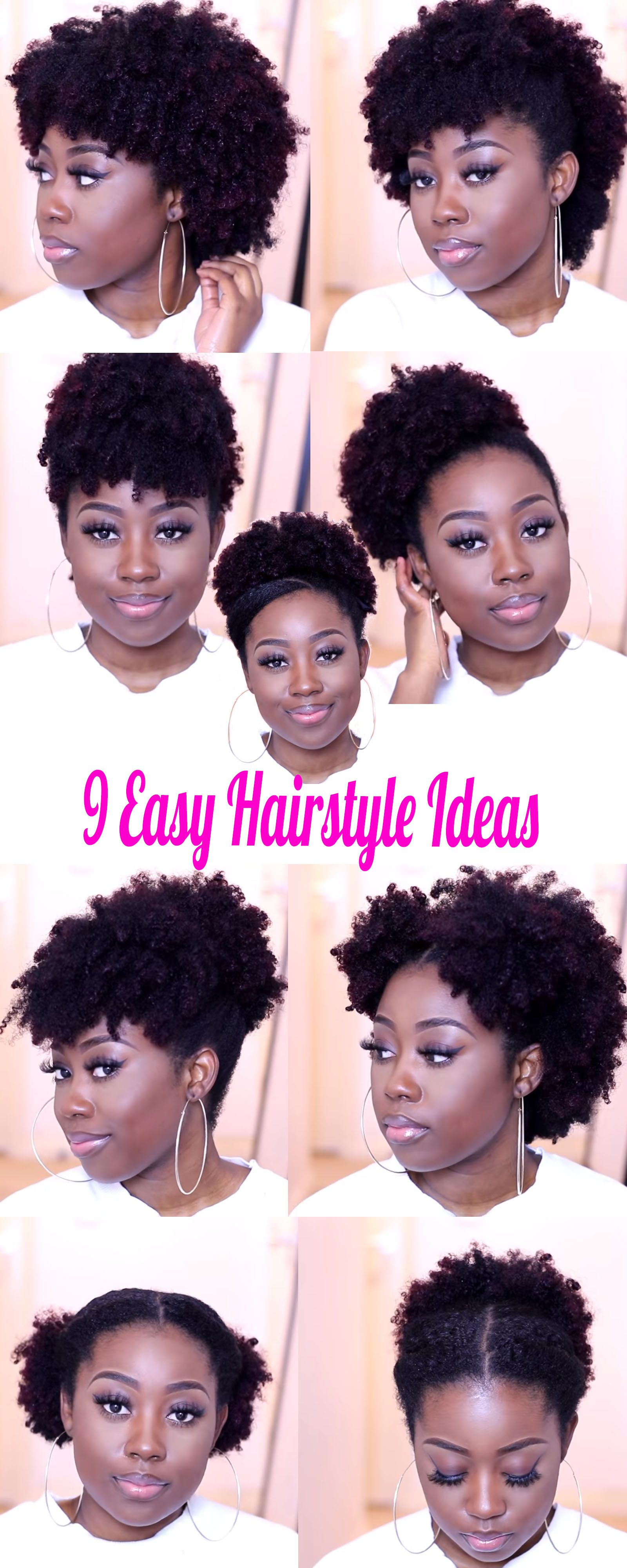 9 Medium Natural Hairstyle Ideas You Can Quickly Create On The Go African American Hairstyle Videos Aahv Natural Hair Styles Natural Hair Styles For Black Women Short Natural Hair Styles