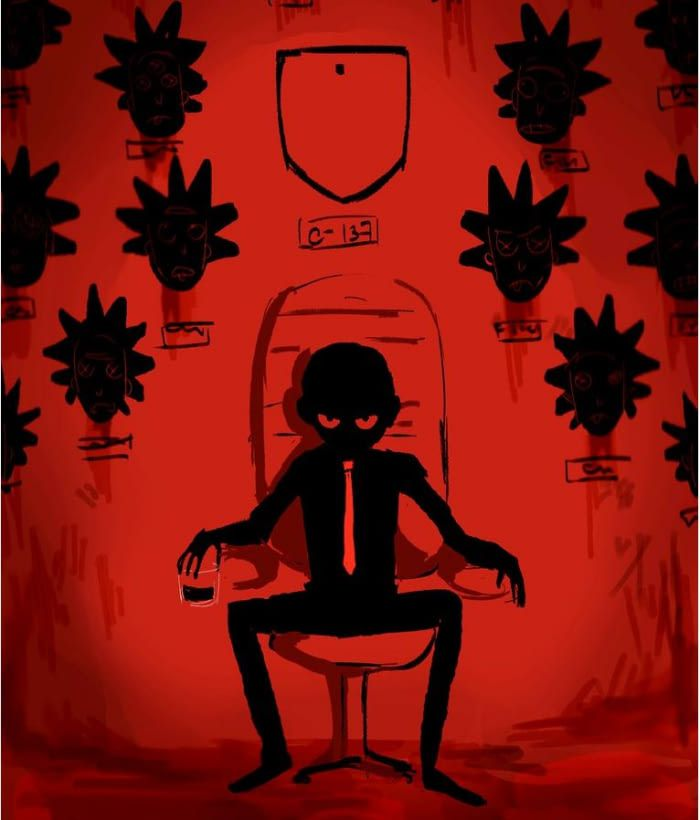 Evil Morty on the throne