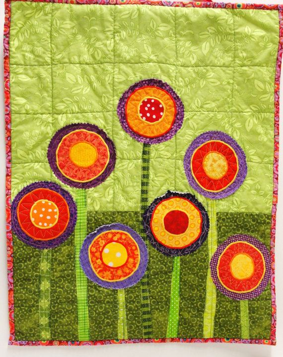 poppy quilt- wall art quilt- 7 stems in red, orange, yellow and ...