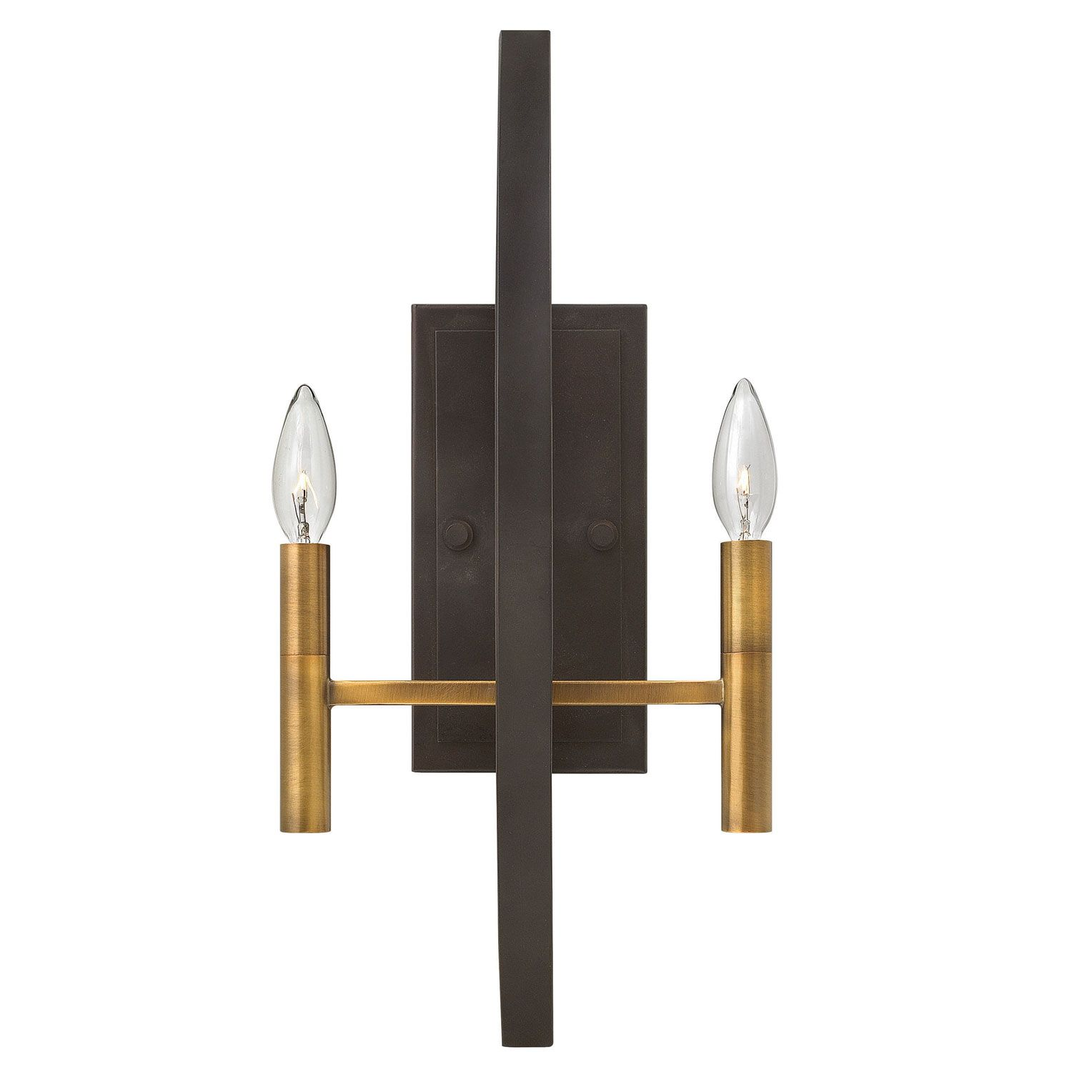 Hinkley Euclid Spanish Bronze TwoLight Wall Sconce Light Walls - Two light bathroom sconce