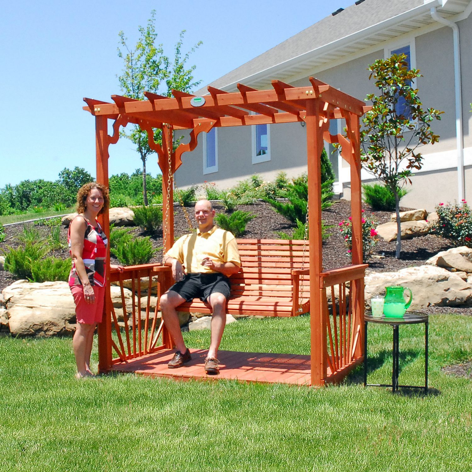 cedar pergola swing sam 39 s club for my bestie. Black Bedroom Furniture Sets. Home Design Ideas