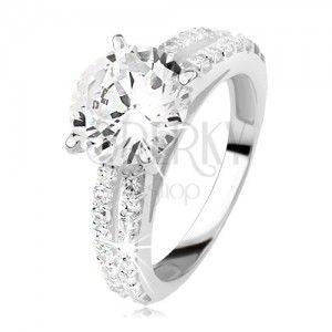 Strieborný zásnubný prsteň 925 so zirkónom a zirkónovými pásmi ... 86947fac256