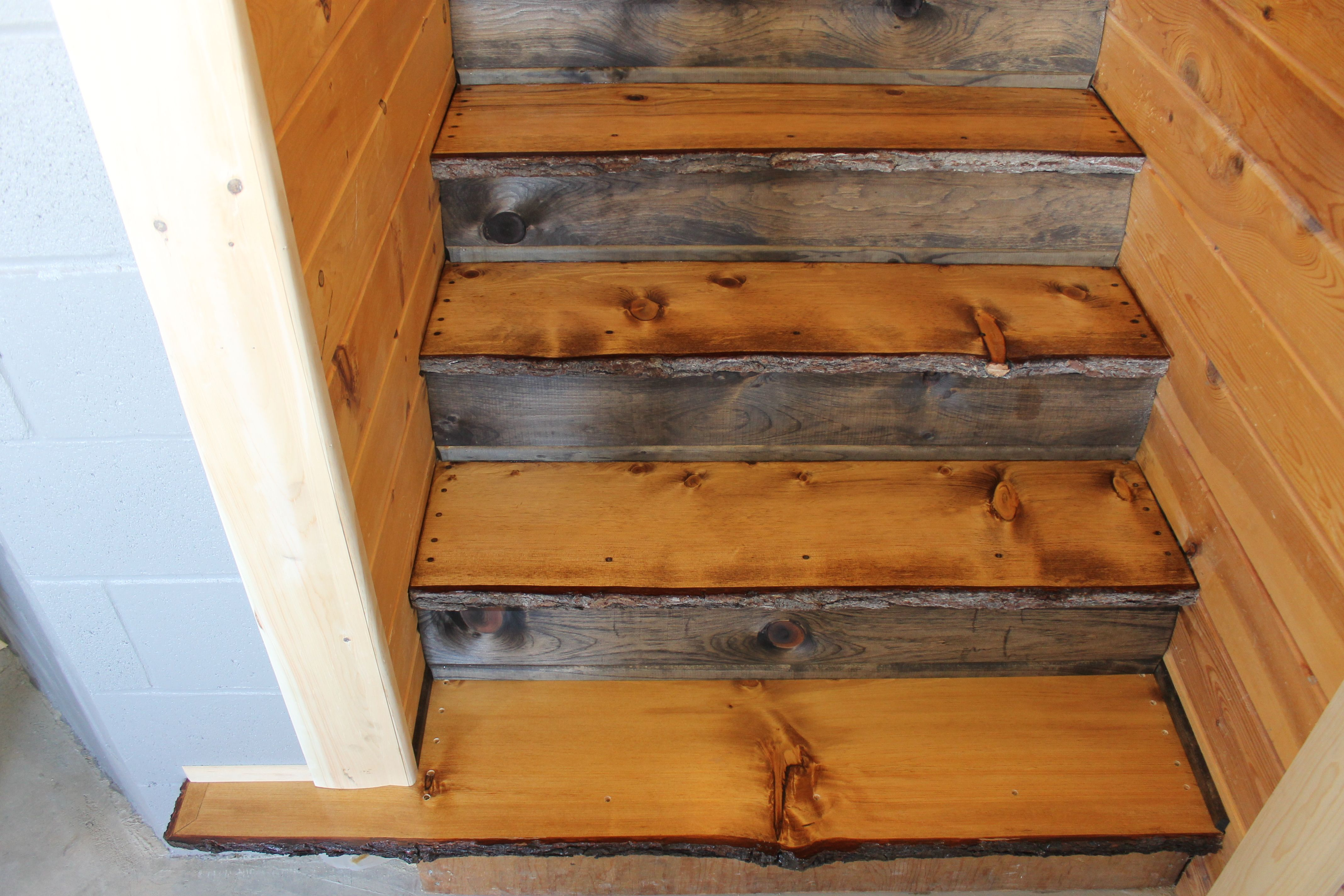 Best White Pine Natural Edge Stair Treads Risers Are Trimmed 400 x 300