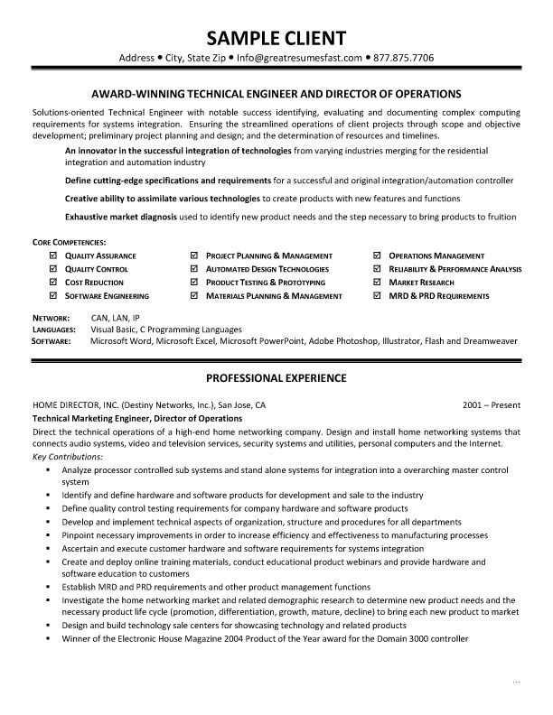 Controller Resume Objective Samples -    wwwresumecareerinfo - technical marketing engineer sample resume