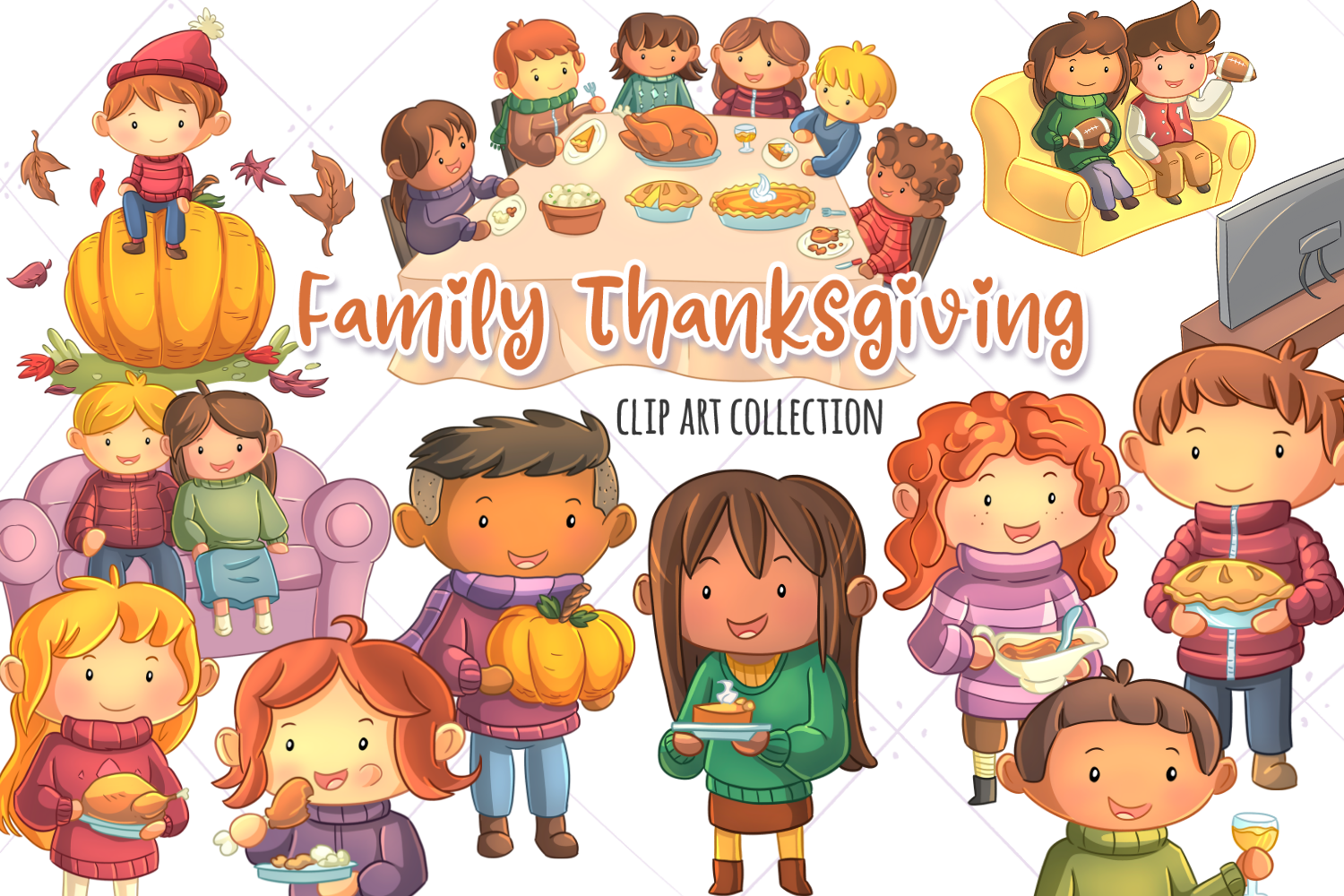 Family Thanksgiving Clip Art Collection (Graphic) by