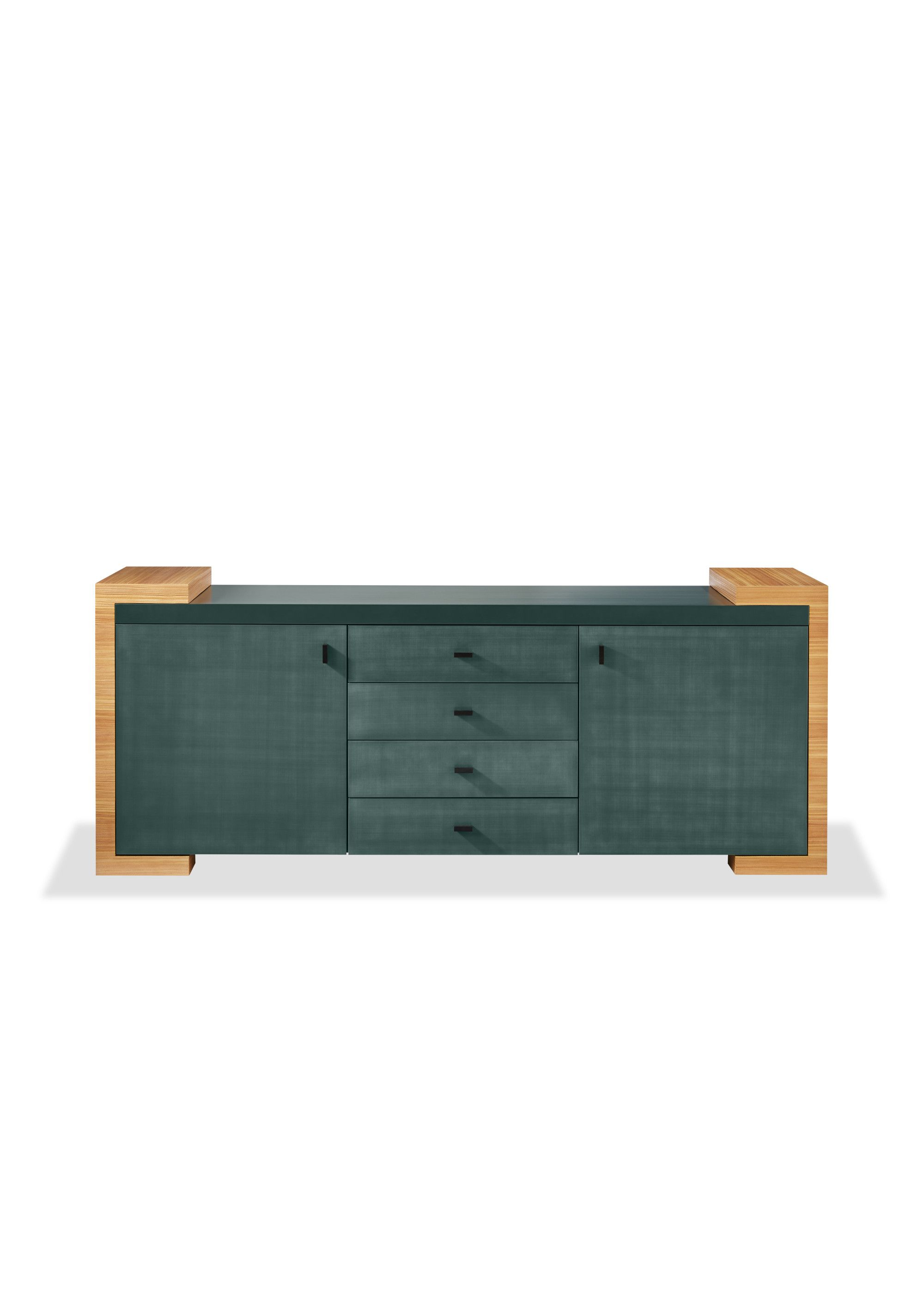 Otto Sideboard With Top In Vert Mousse Lacquer Satin Finish Sides In Sandblasted Natural Larch Wood Front In Vert Mousse Washi Lacquer Satin Fin Philippe