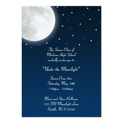 Under The Moonlight Party Dance Prom Formal Invitation Zazzle Com Formal Invitation Invitations Formal Prom