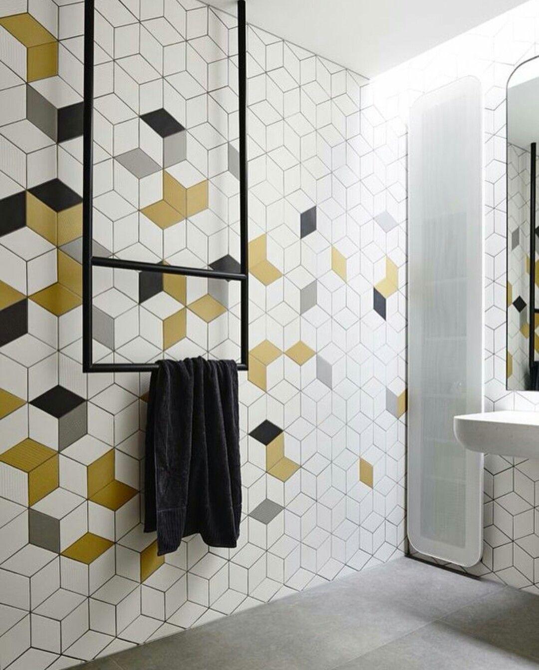 Hexagon Cube Tiles Again Modern Bathroom Tile Yellow Bathroom Tiles Yellow Bathroom Decor