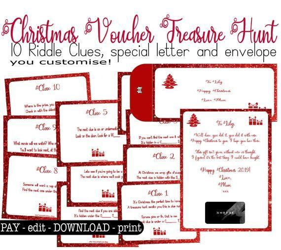Christmas Gift Scavenger Hunt Riddles: Christmas Riddle Treasure Hunt For Gift Cards, Gift