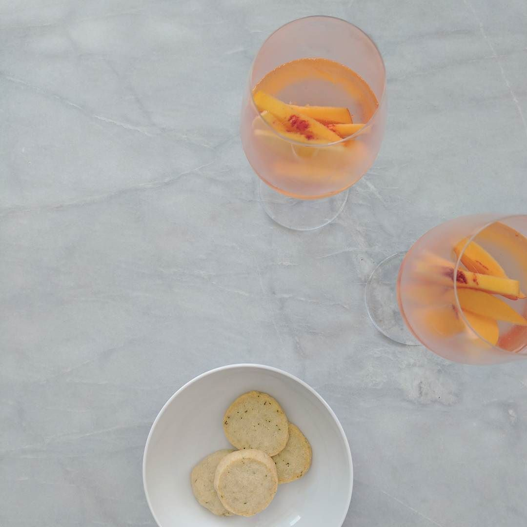 Peach soaked rosé and homemade parmesan crackers for our aperitivo ...