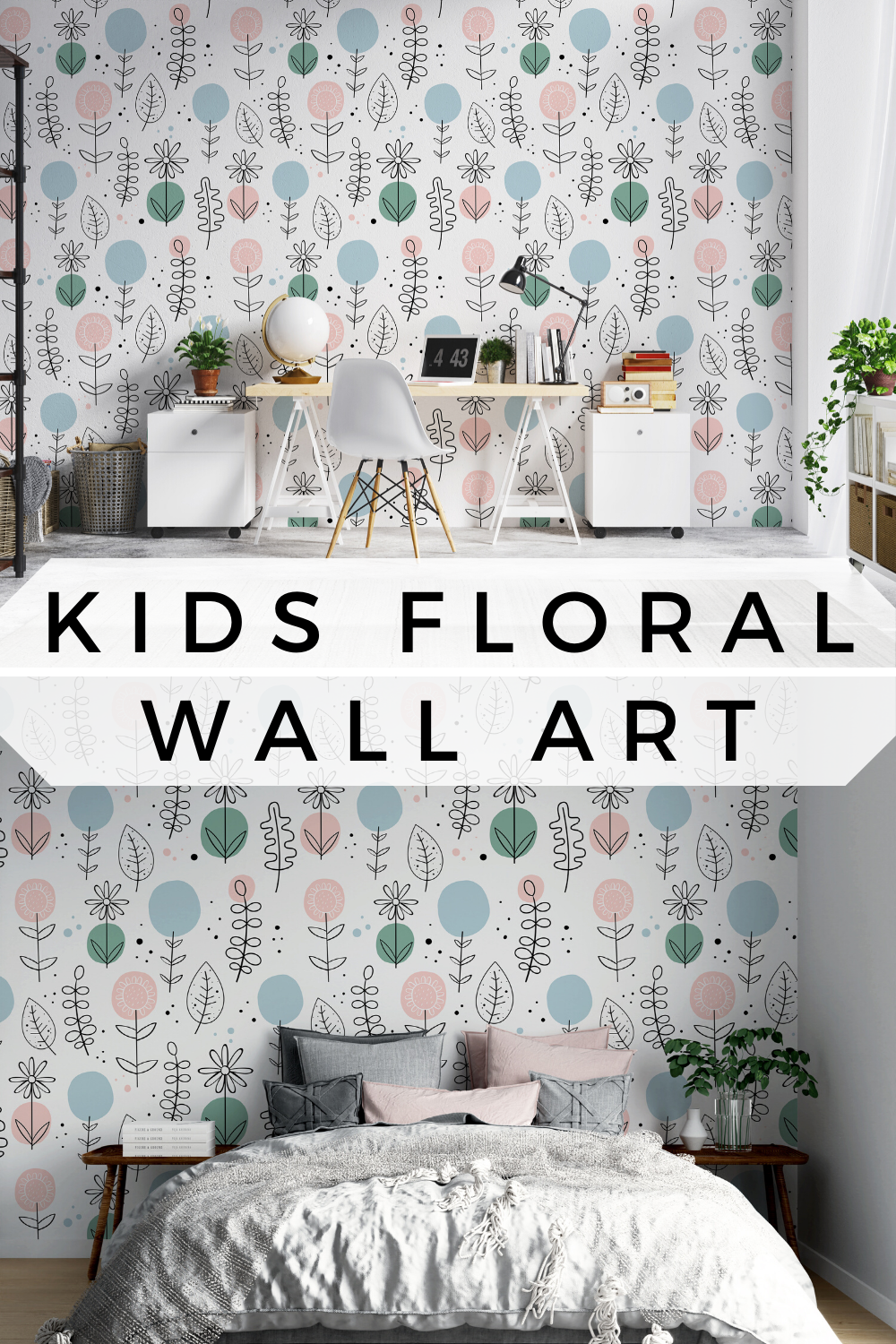 Floral Wall Art Removable Kids Nursery Wallpaper Wall Decor Girls Boys Reusable Or Traditional Peel And Stick Room Decor Eco Friendly Wallpaper Walls Decor Nursery Wallpaper Floral Wall Art