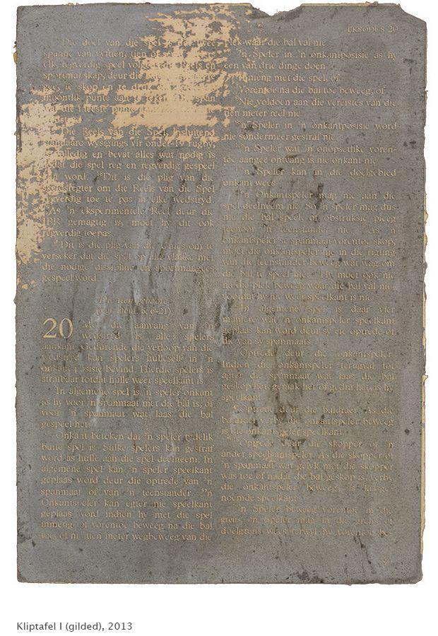 'Kliptafel' by Pierre le Riche, 2013. Laser-engraved Dutch gold leaf on concrete.