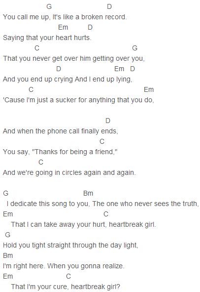 5 Seconds Of Summer Heartbreak Girl Chords Capo 3