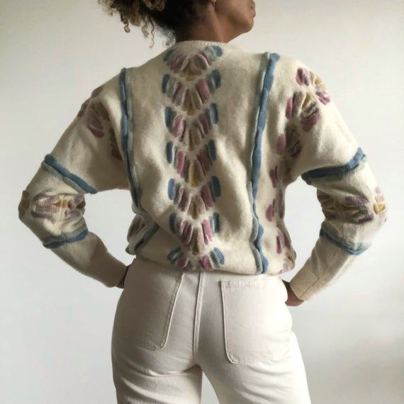 Vintage 80s Knit Jumper, Cream Knit Jumper With Pastel Pattern, Vintage Chunky Knit Jumper, Wool Knit Jumper.