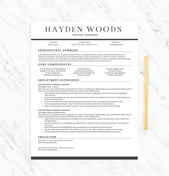 Resume Template Hayden By Resume Template Shoppe On