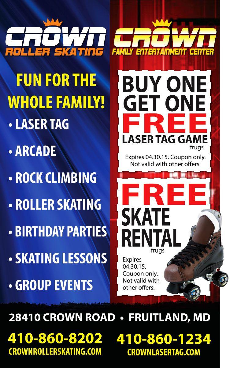 Bogo free laser tag or free skate rental from crown laser