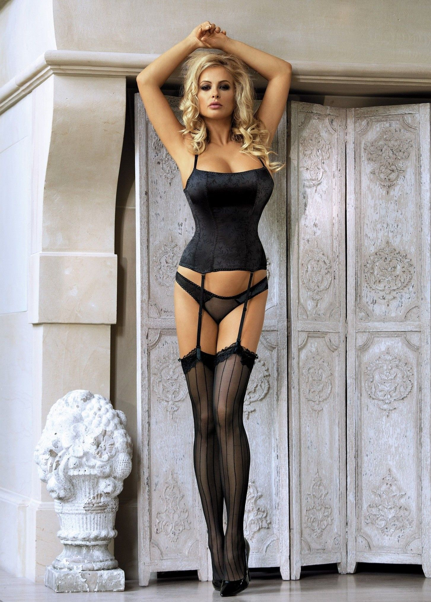 Sexy woman in dresses stockings