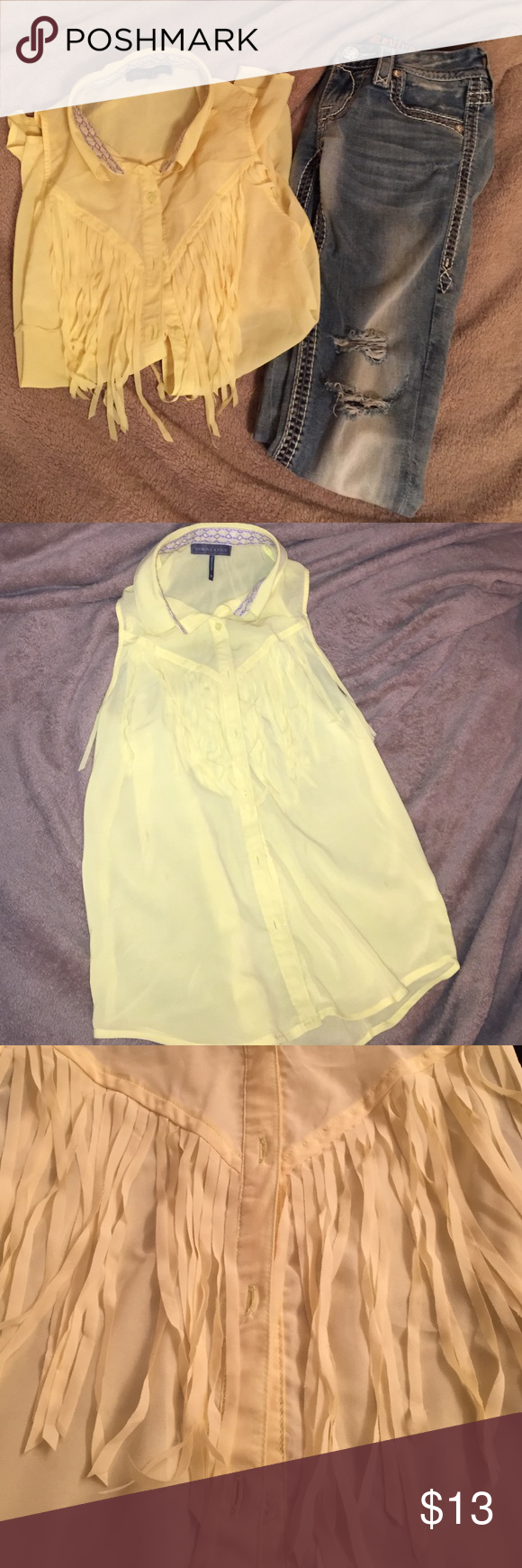 Kendal and Kylie fringe tank top Light yellow sheer fringe tank top. Hardly worn and no snags or wear. Pants not included! Perfect for spring time. Kendall & Kylie Tops Tank Tops