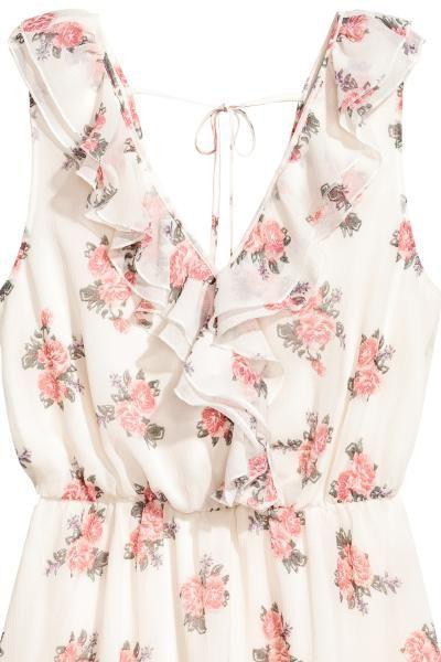 Krepowana Sukienka Naturalna Biel Kwiaty Ona H M Pl Summer Dress Outfits Types Of Fashion Styles Fashion