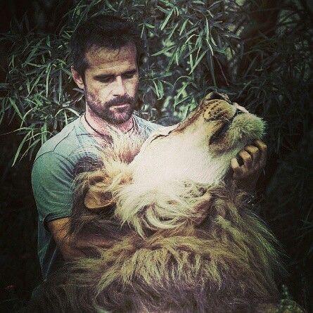 Kevin Richardson avec un lion adorable