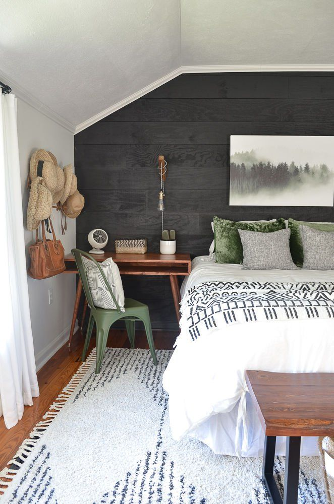 With a small budget, we gave a guest bedroom a makeover with a combination of rustic, modern and bohemian elements. Best of all, it's now a multi-functional spare room that is welcoming to our guests! #bedroom #ideas #cozy #budget