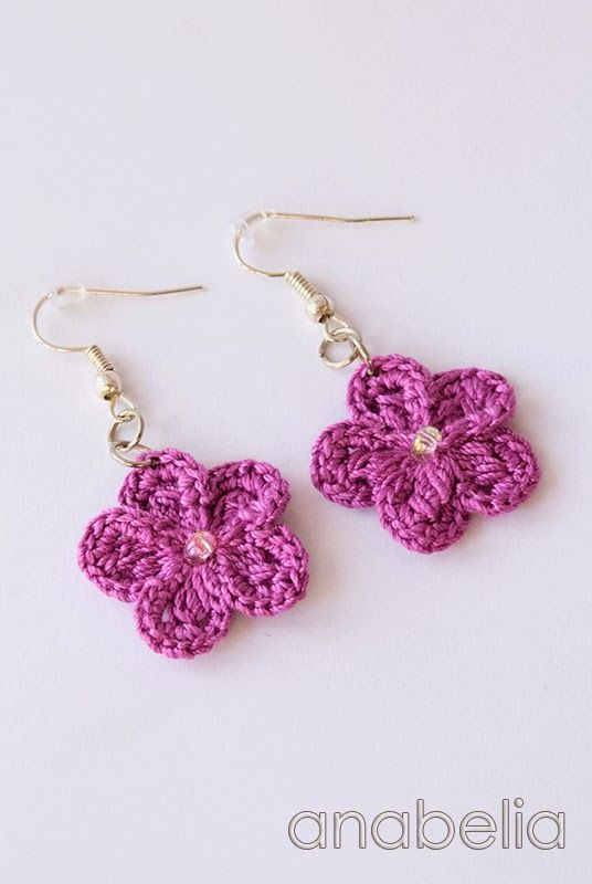 Crochet flower earrings by Anabelia | manualidades | Pinterest ...