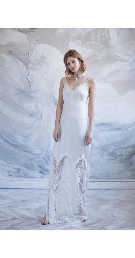 Long Pure Silk Nightgown with Lace Beautiful long robe with delicate ...