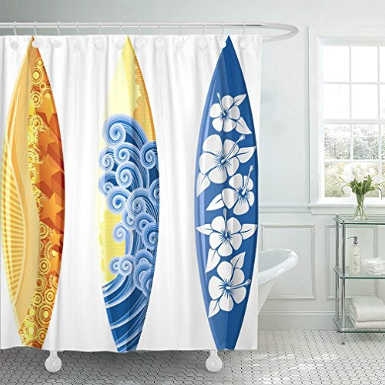 Emvency 72 X72 Shower Curtain Waterproof Blue Surf Surfboards White Yellow Board Hibiscus Sea Surfer Hawaii Wave Beach Surfboard Hawaii Waves Polyester Fabric