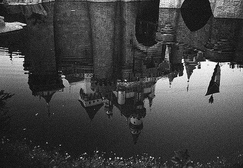 Castle. Black and white reflection.