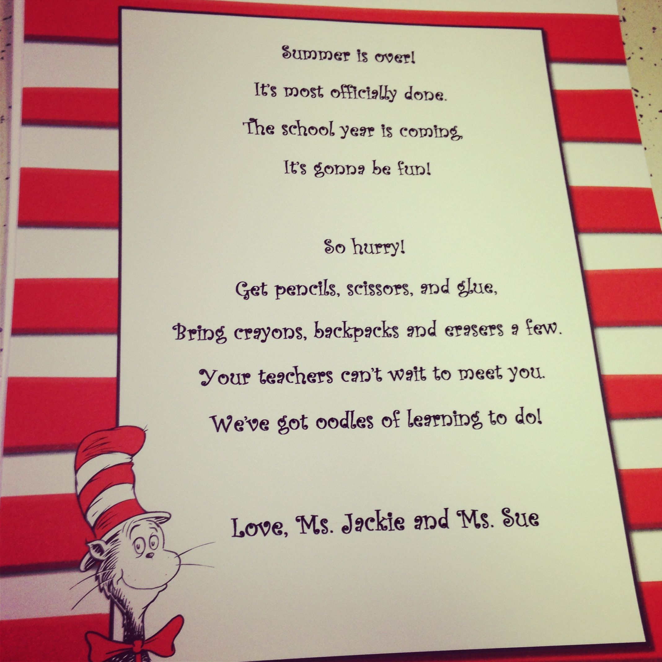 Dr Seuss Poem For Meet The Teacher Day With Images