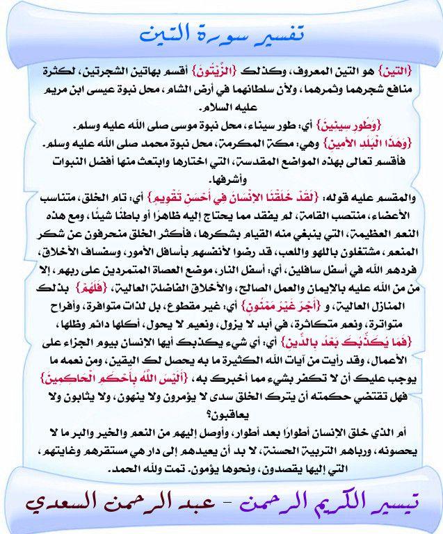 تفسير سورة التين السعدي Quran Quotes Quotes Quran