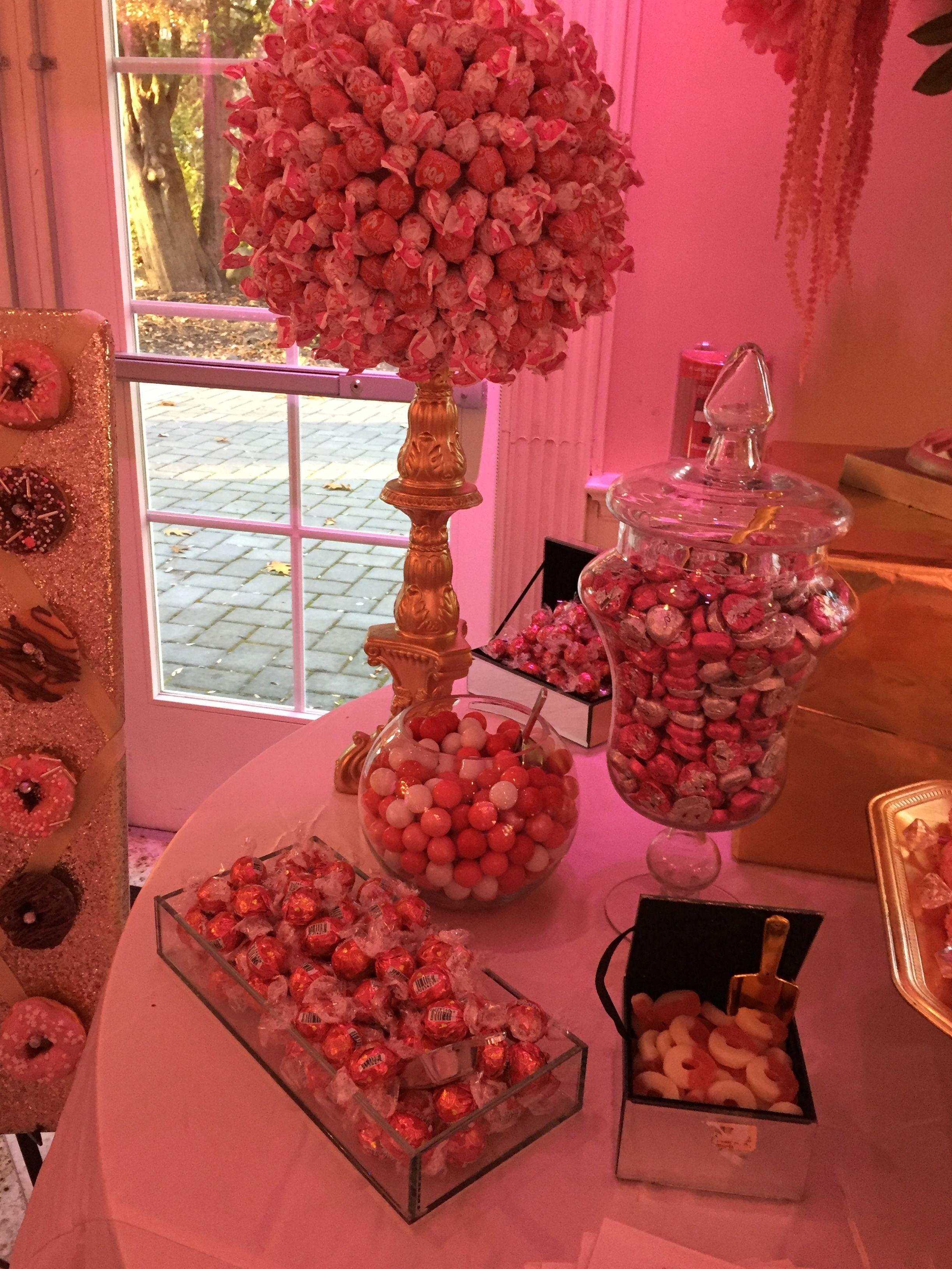 Kennedy Super Sweet Sixteen Candy Table Buffet Dessert Table Pink Decor Pink Ombre Desserts Lollipops Wedding Birthday Par Birthday Parties Pink Ombre Sweet 16