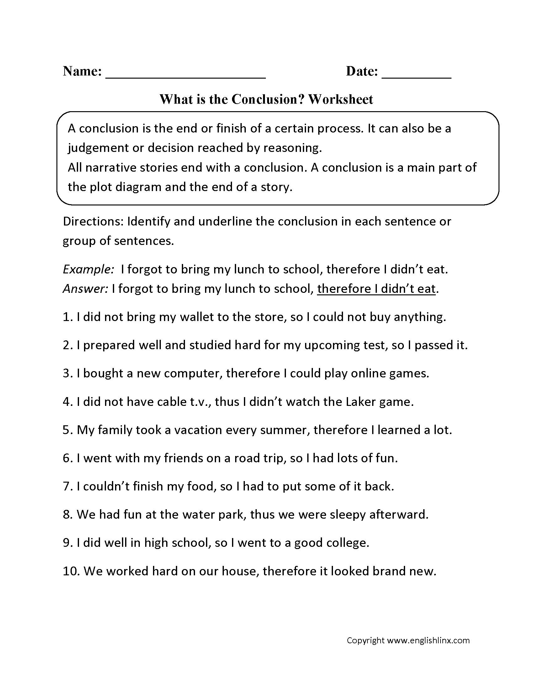 What is the Conclusion? Worksheet   Writing conclusions [ 2200 x 1700 Pixel ]